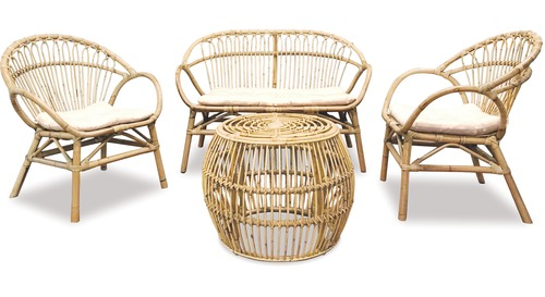Alfresco Amalfi 4-pce Natural Rattan Suite