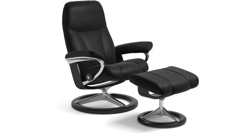 Stressless® Consul Leather Recliner - Signature Base - 3 Sizes Available